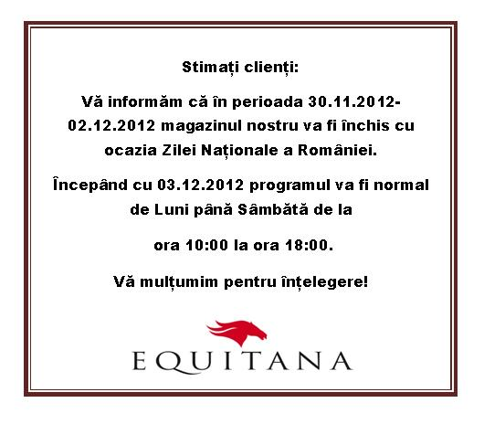 PROGRAM 1 DECEMBRIE EQUITANA: LA MULTI ANI ROMANIA!