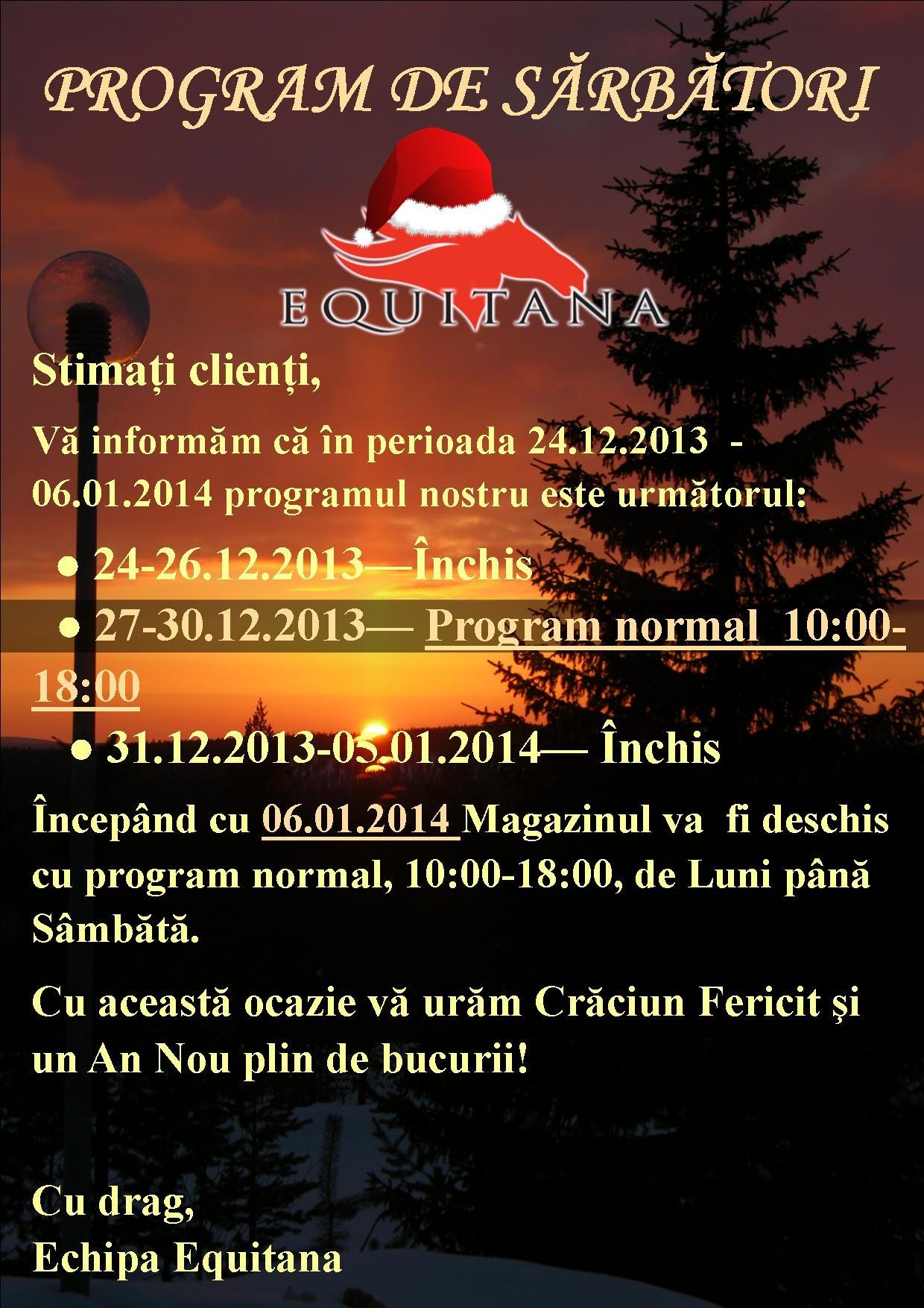 PROGRAM DE SARBATORI EQUITANA 2013-2014