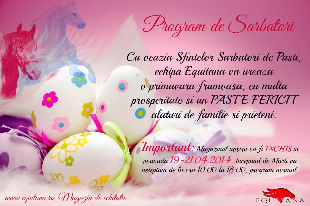 Paşte 2014: Program de Sărbători