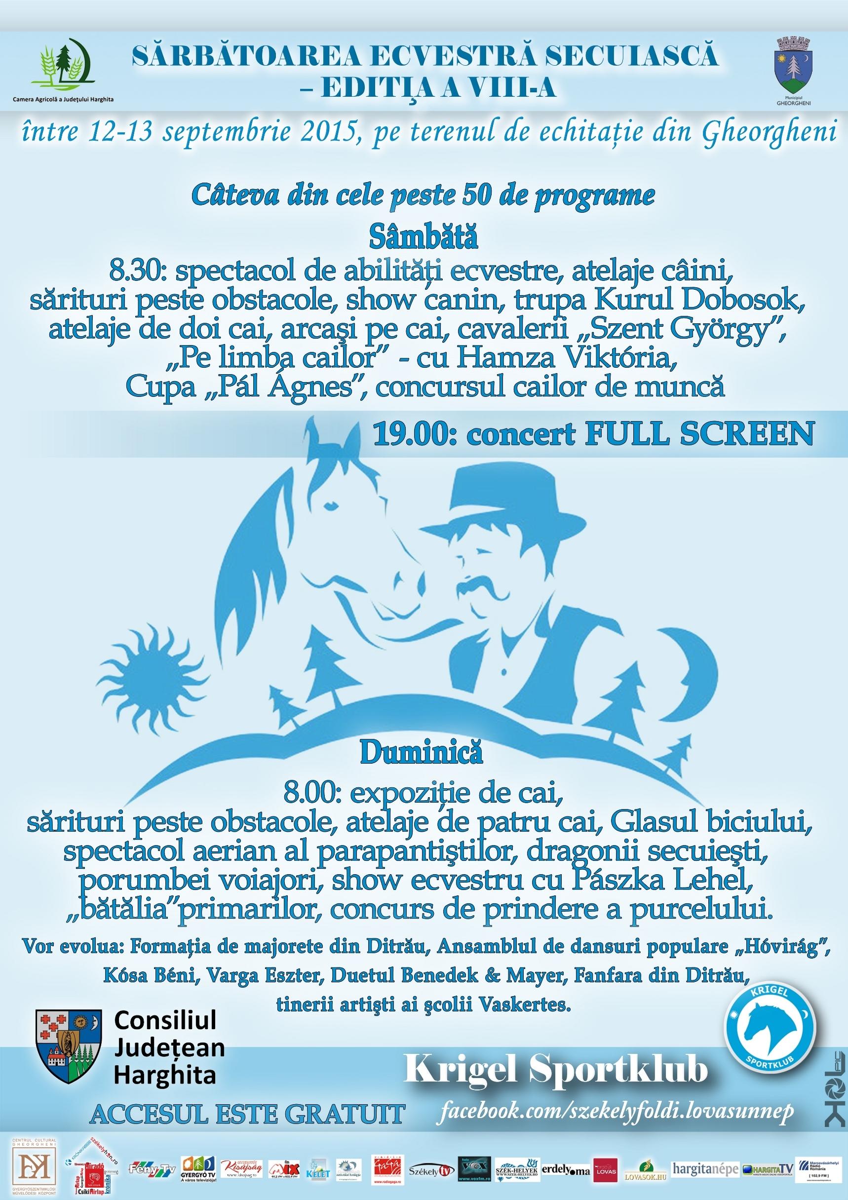 În 12-13 septembrie are loc Festivalul Ecvestru al Ținutului Secuiesc