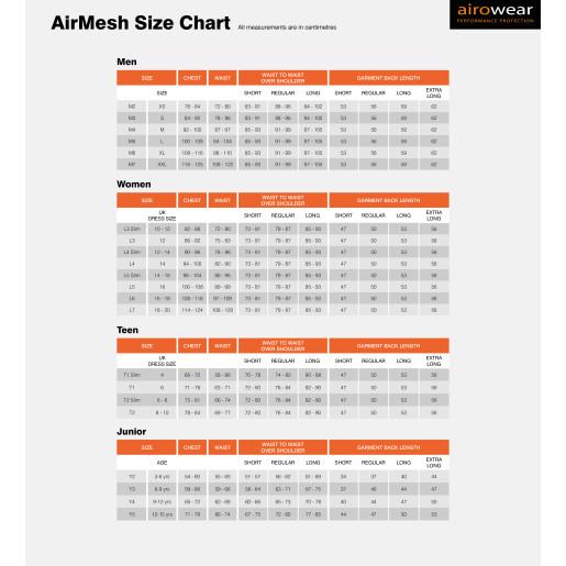 Airowear-AirMesh-Size-Chart